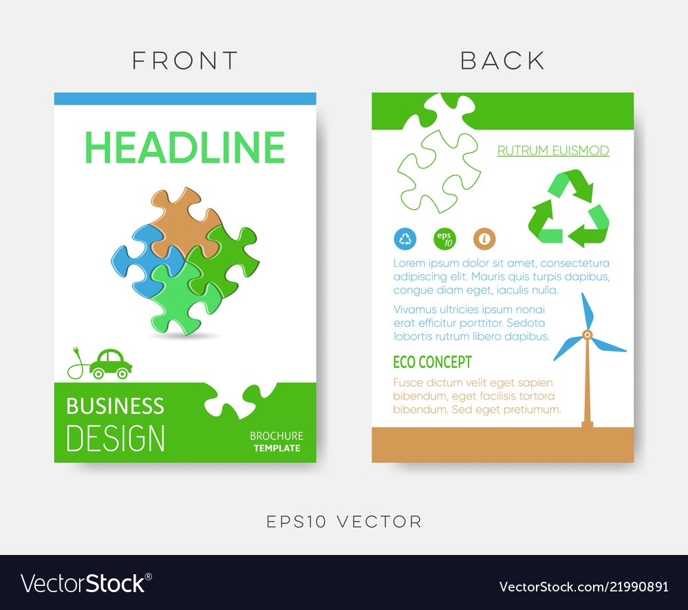 Brochure eco design template with puzzle