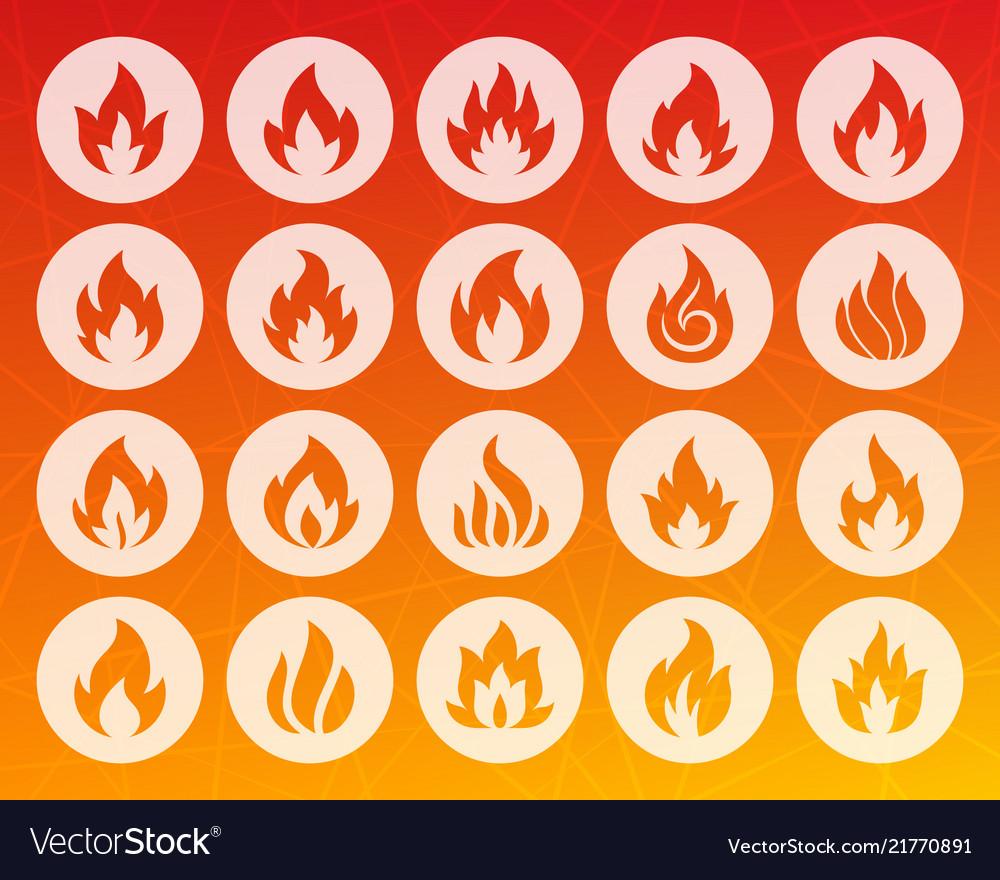 Fire shape carved flat icons set