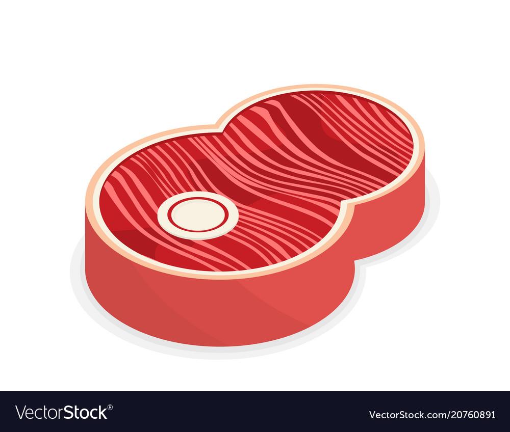Flat design fresh raw beef steak vector image