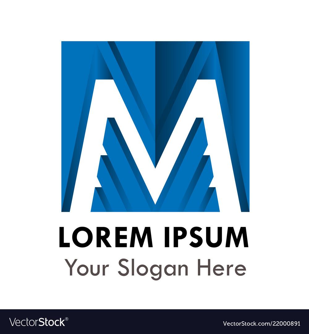 Letter m logo alphabet blue logotype design