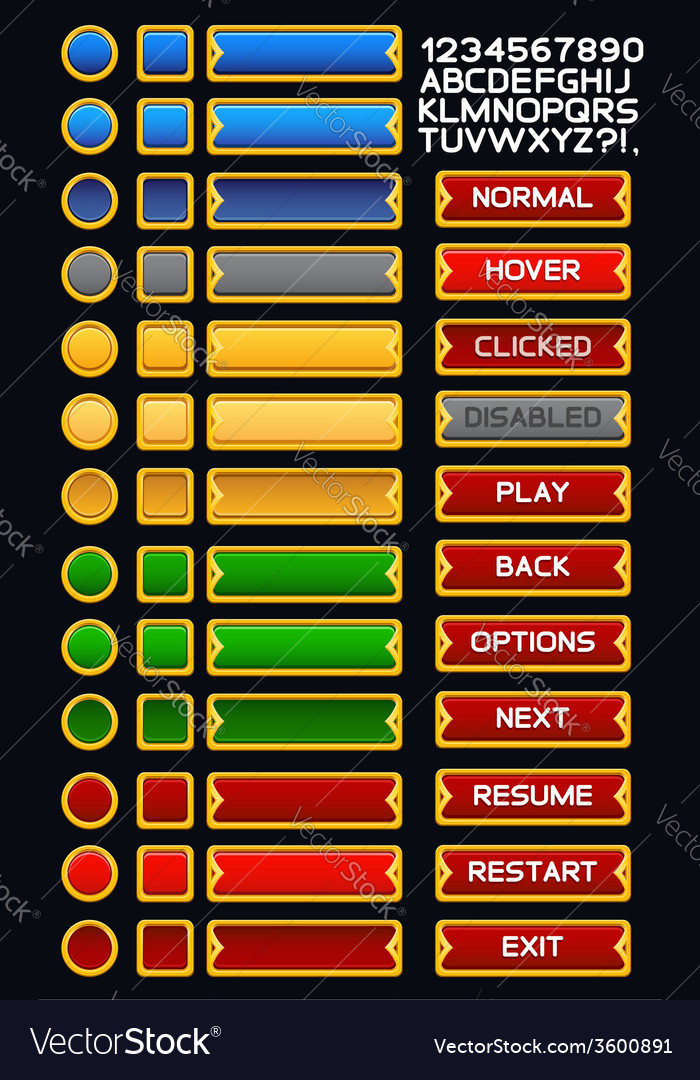 Medieval game buttons pack 3