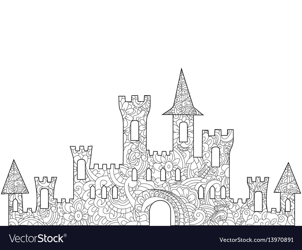 Old Castle Coloring Book For Adults Vector Image