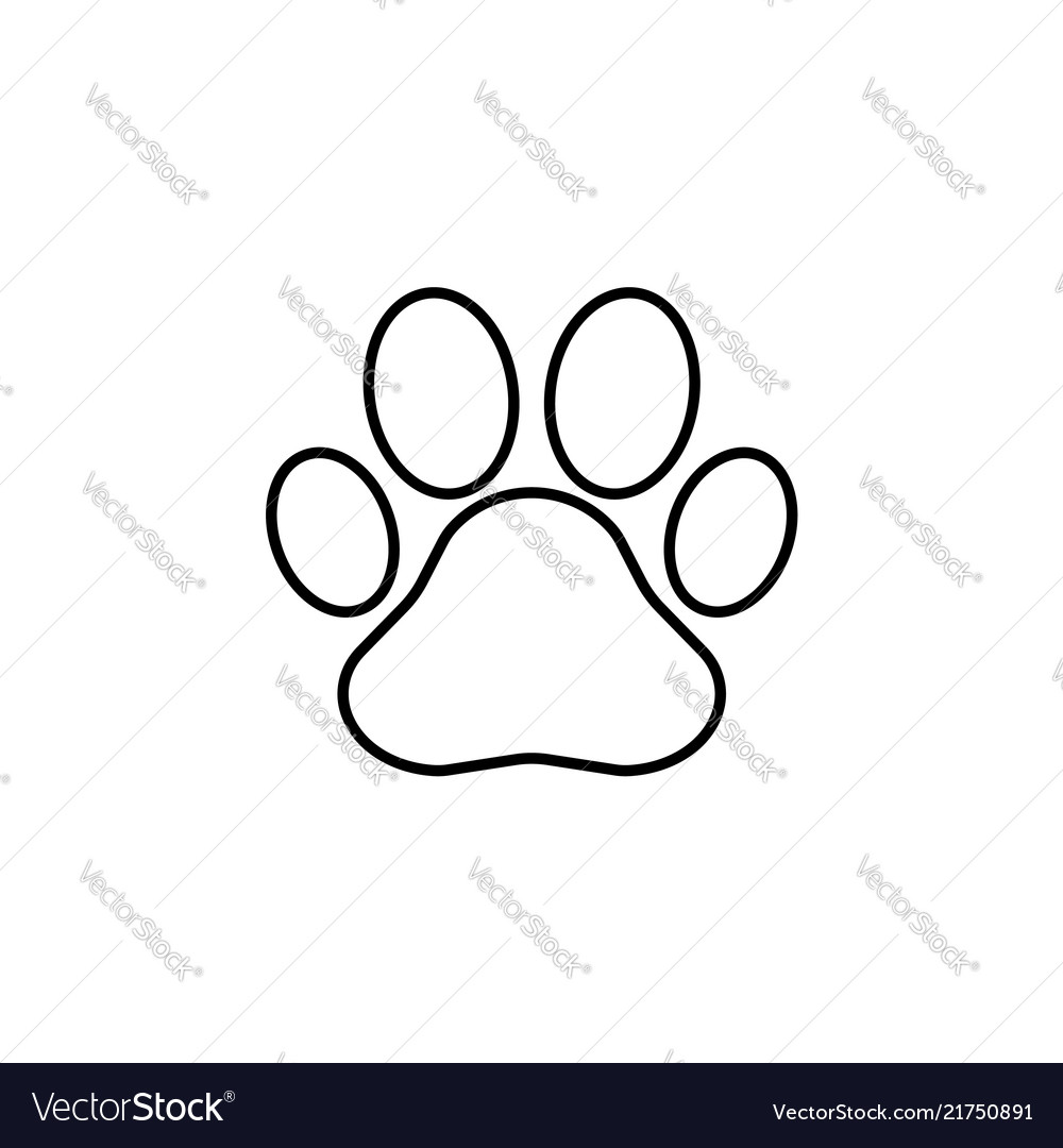 Paw print line icon black on white vector image