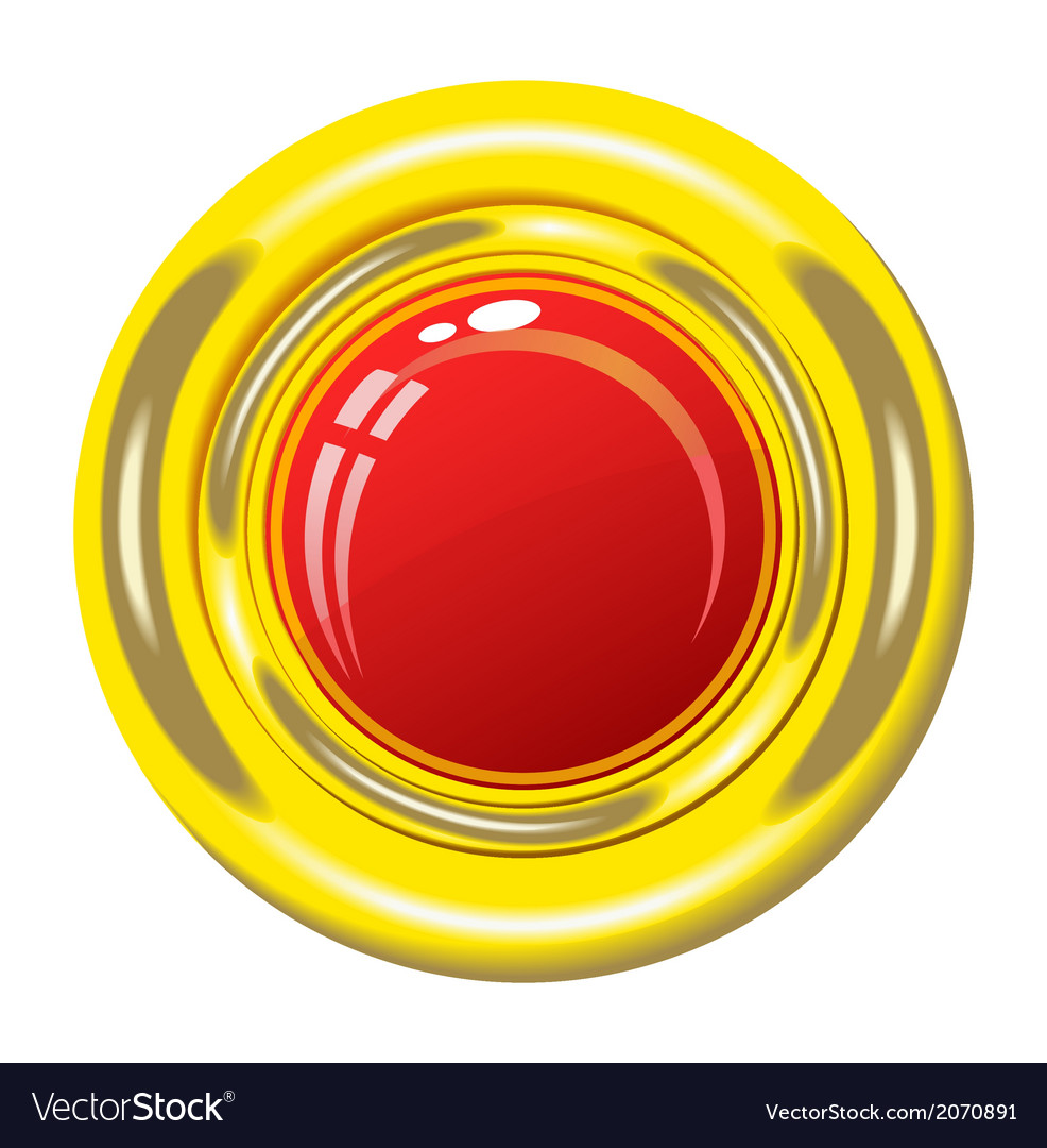 Red button in gold frame vector image