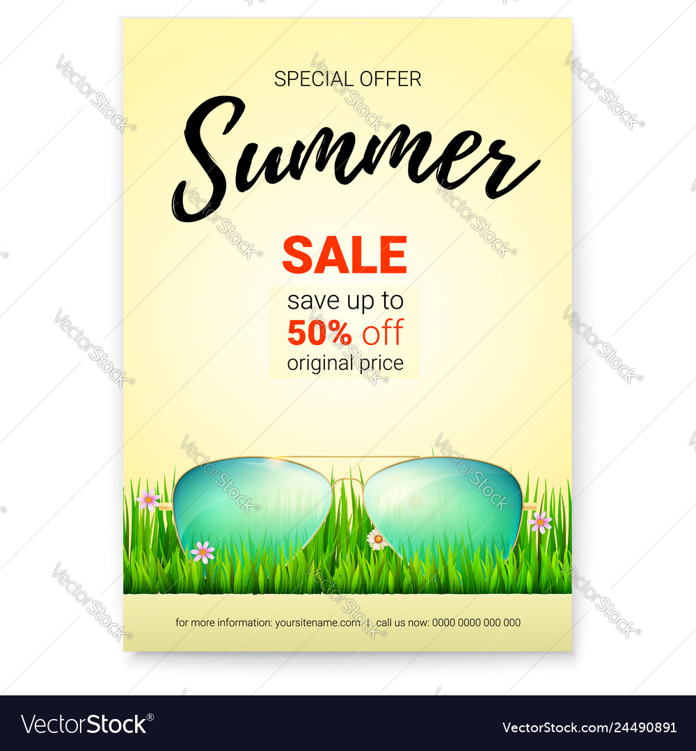 Summer sale promo poster with 50 percent discount