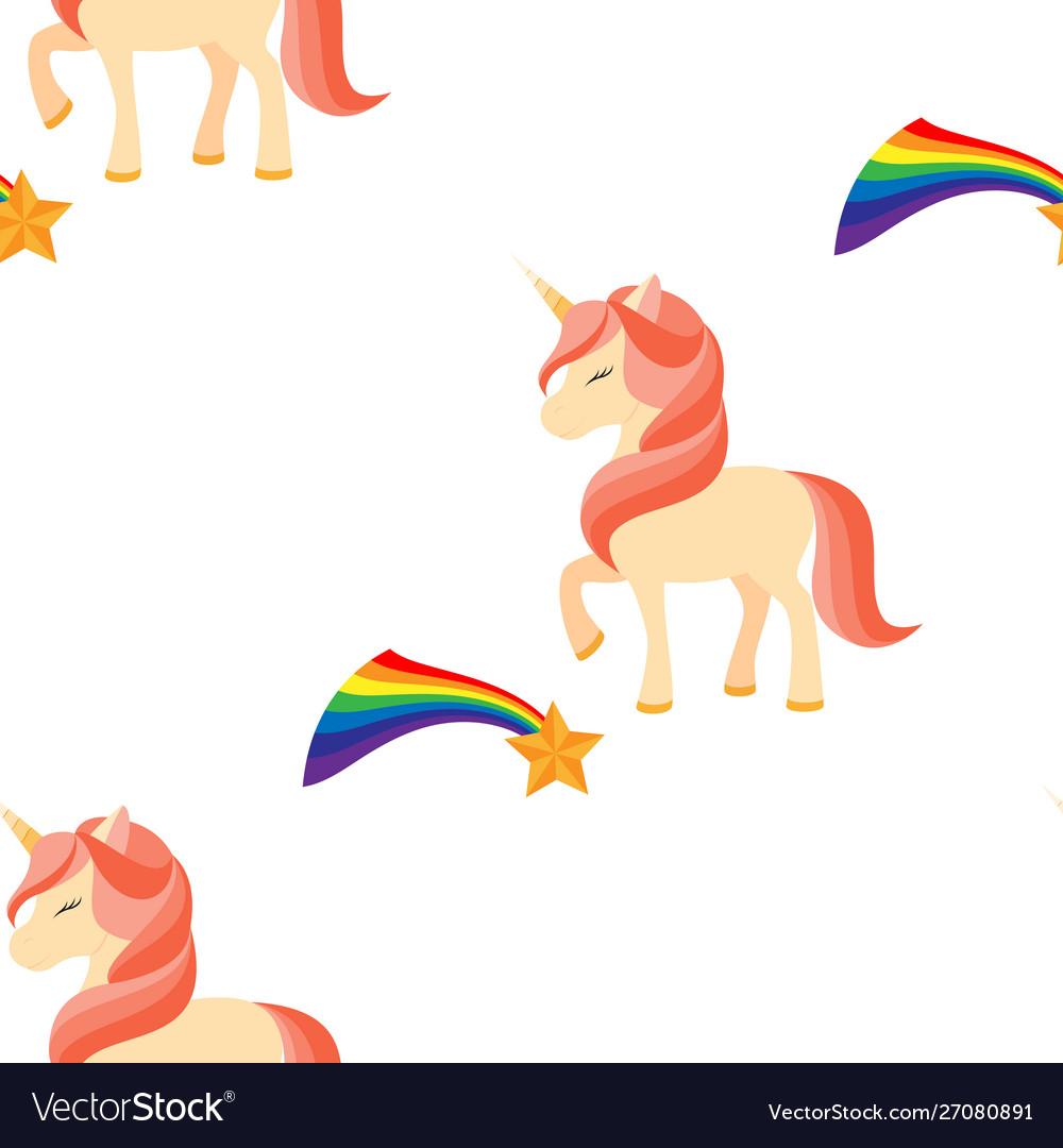 Unicorn with closed eyes pink mane seamless