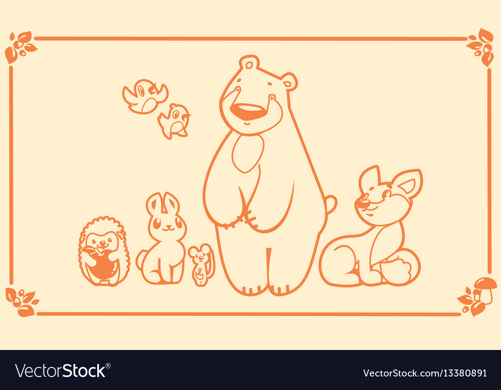 Woodland animals set characters bear fox