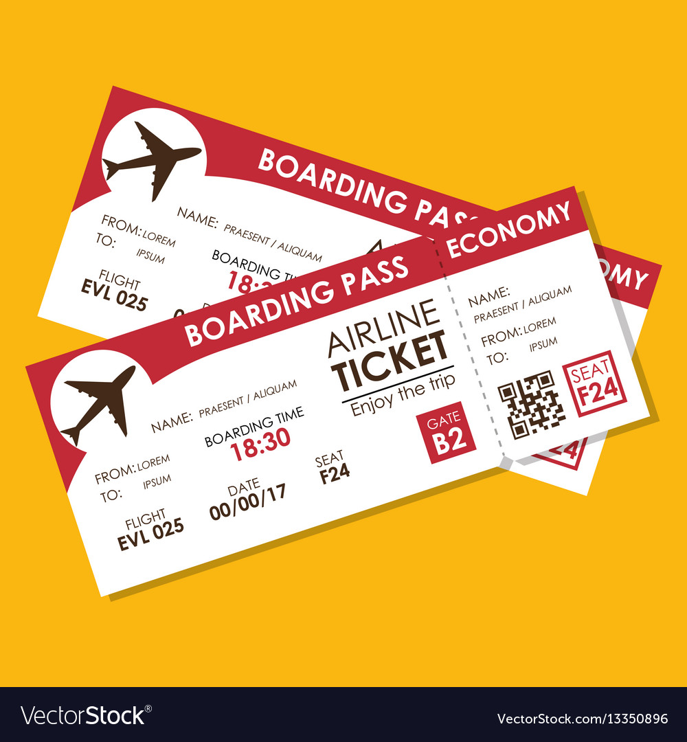 Airline ticket flight icon Royalty Free Vector Image