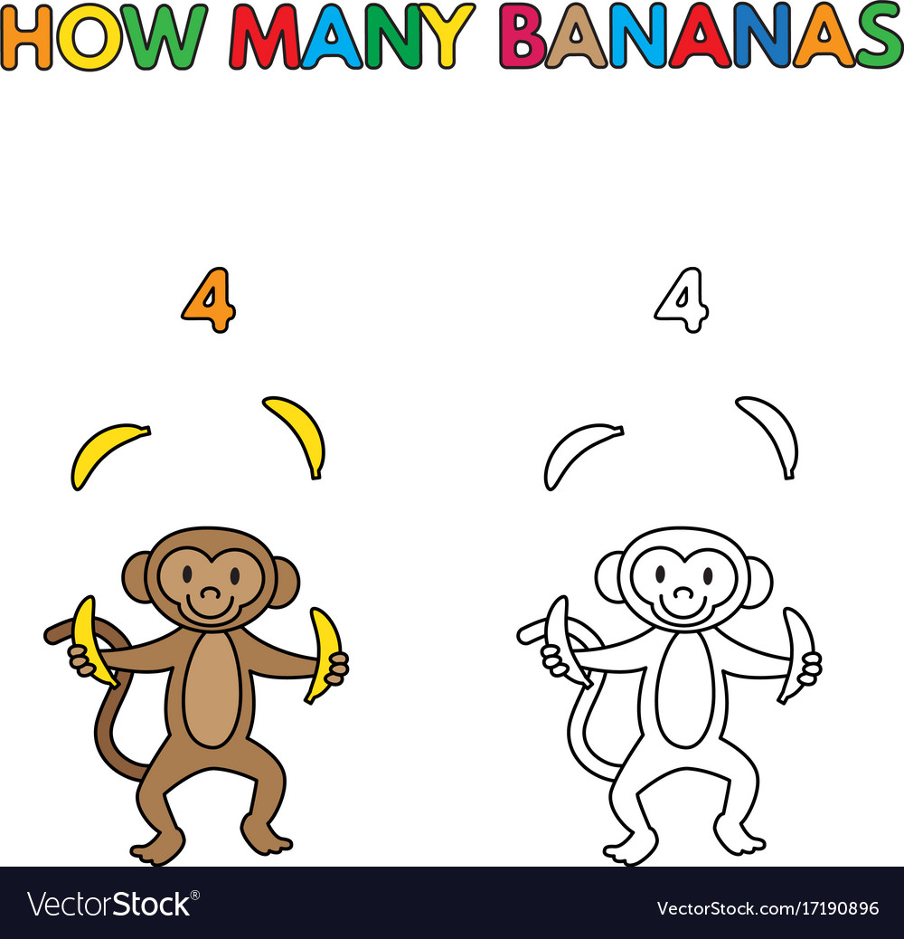Cartoon monkey counting bananas coloring book Vector Image
