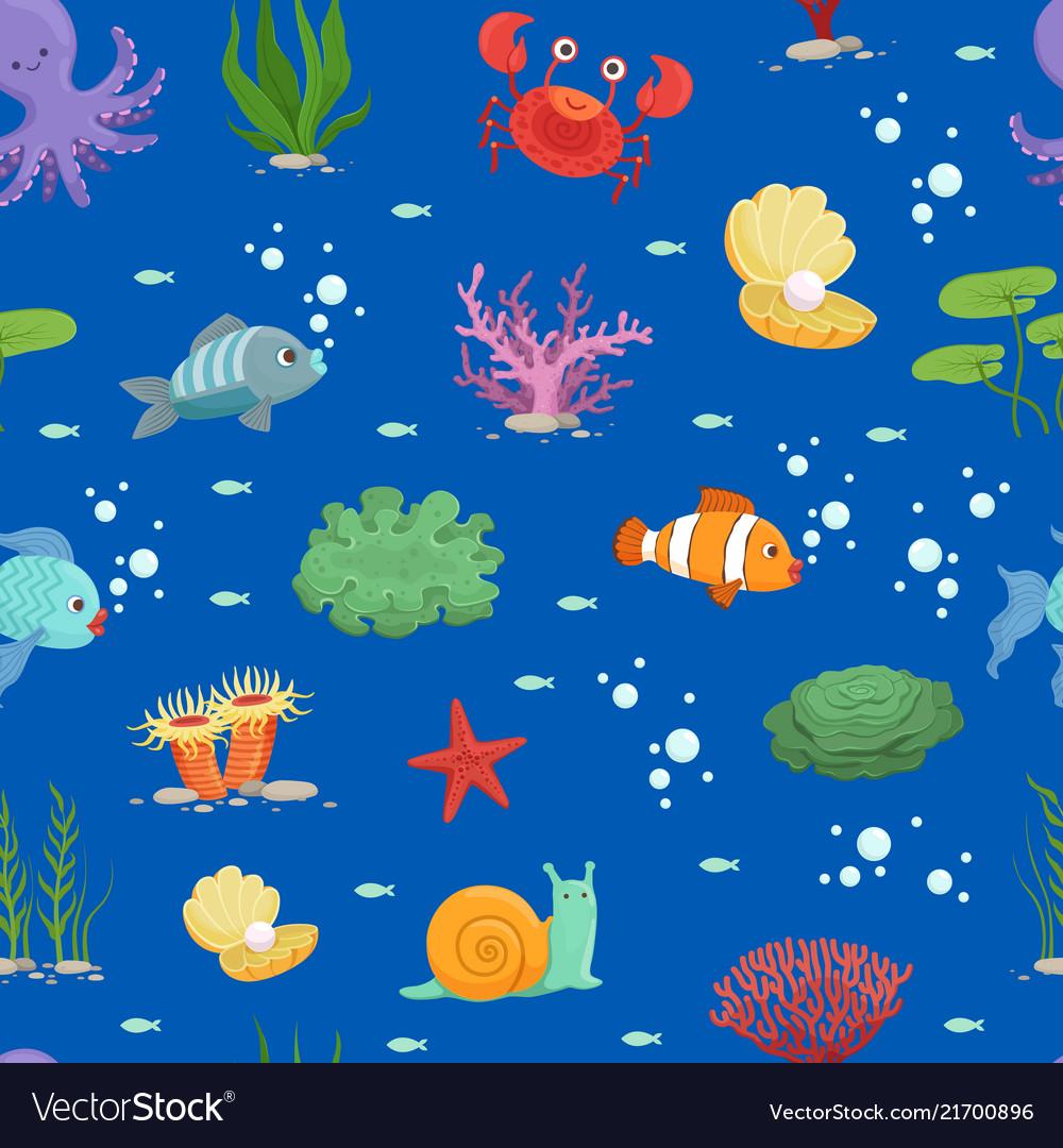Cartoon underwater creatures and seaweed