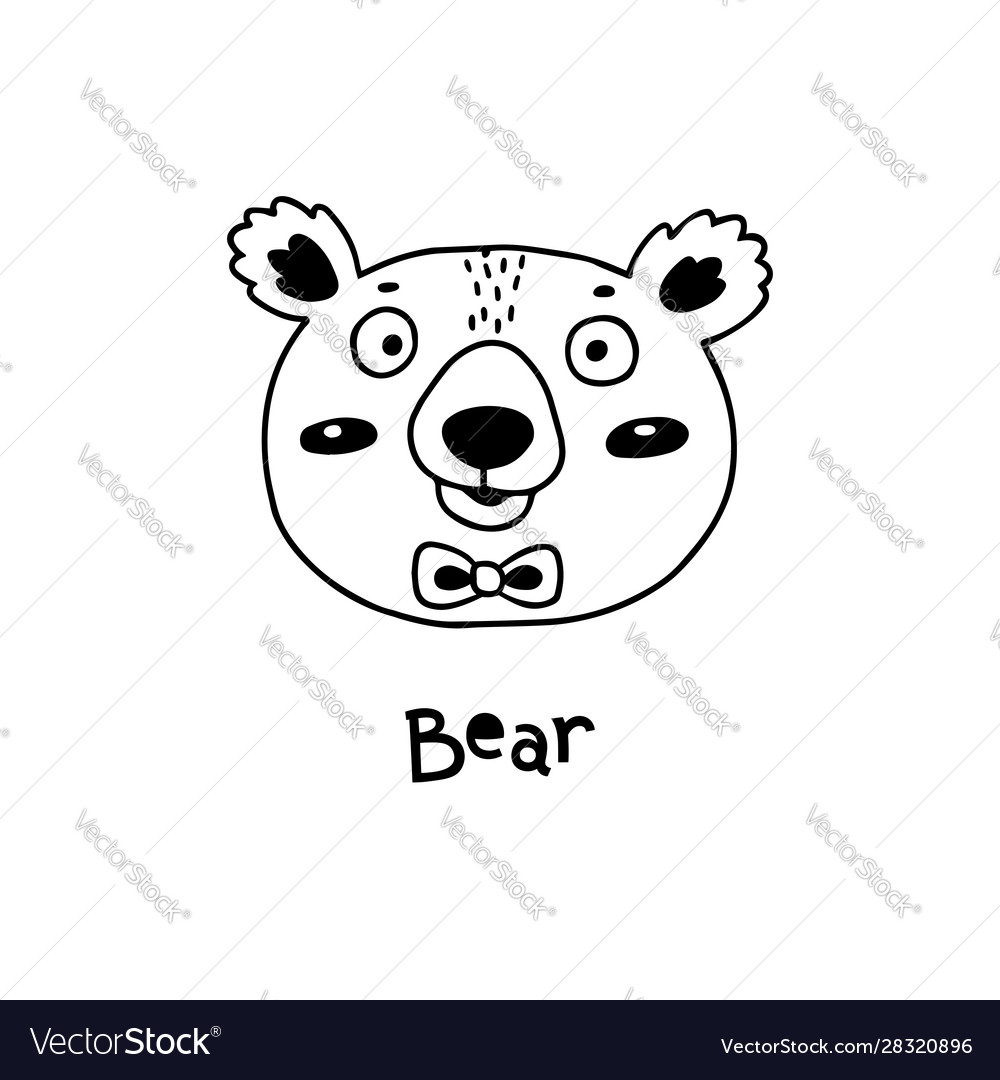 Cute simple bear face cartoon style