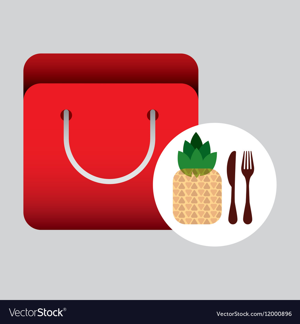 Grocery bag pineapple nutrition fruit vector image