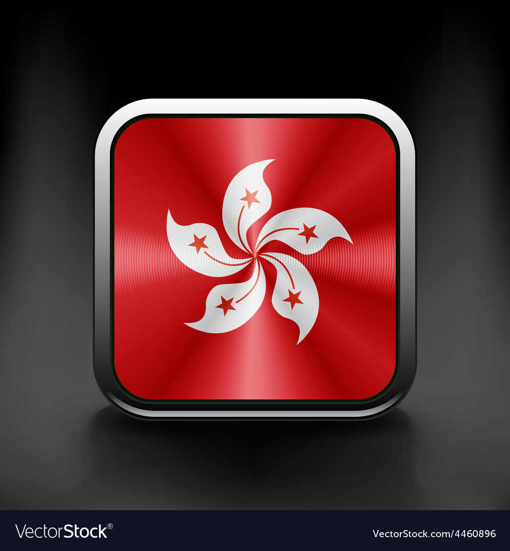 Hong Kong flag button on white