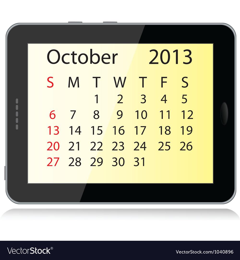 october 2013 calendar royalty free vector image