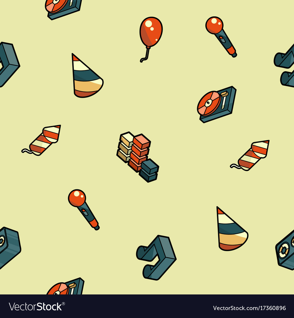Party color outline isometric pattern