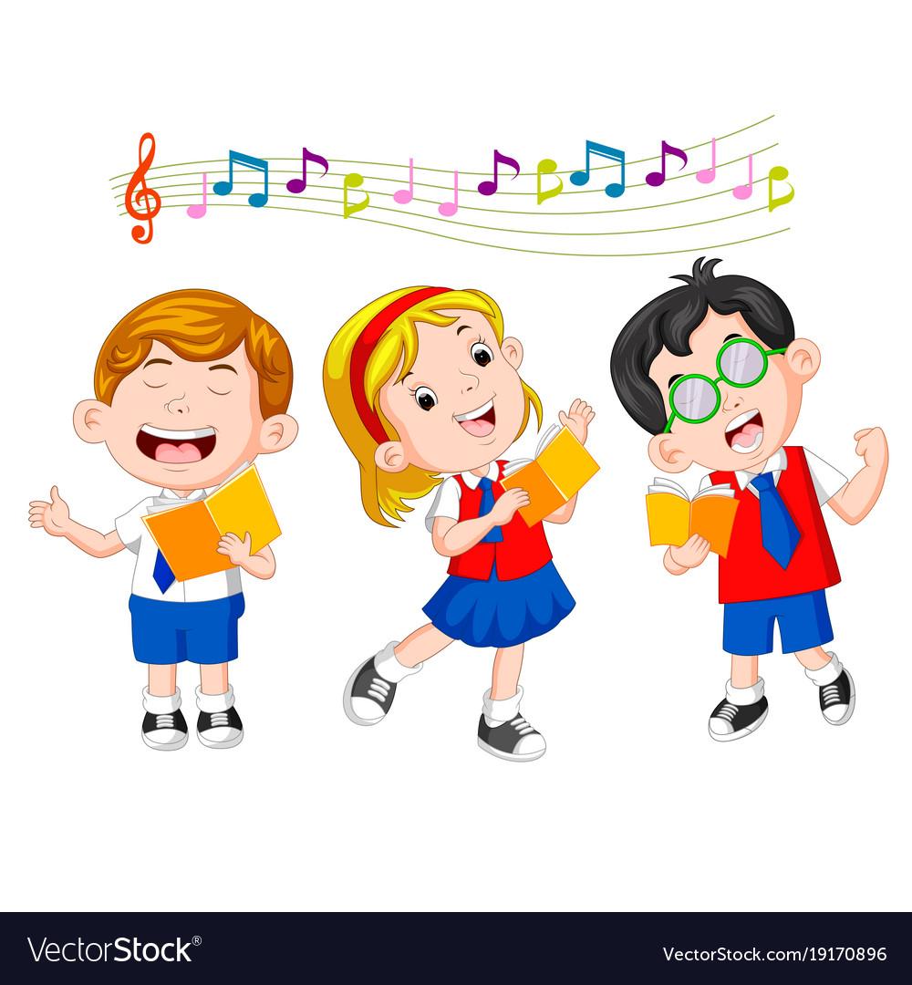 School children singing Royalty Free Vector Image