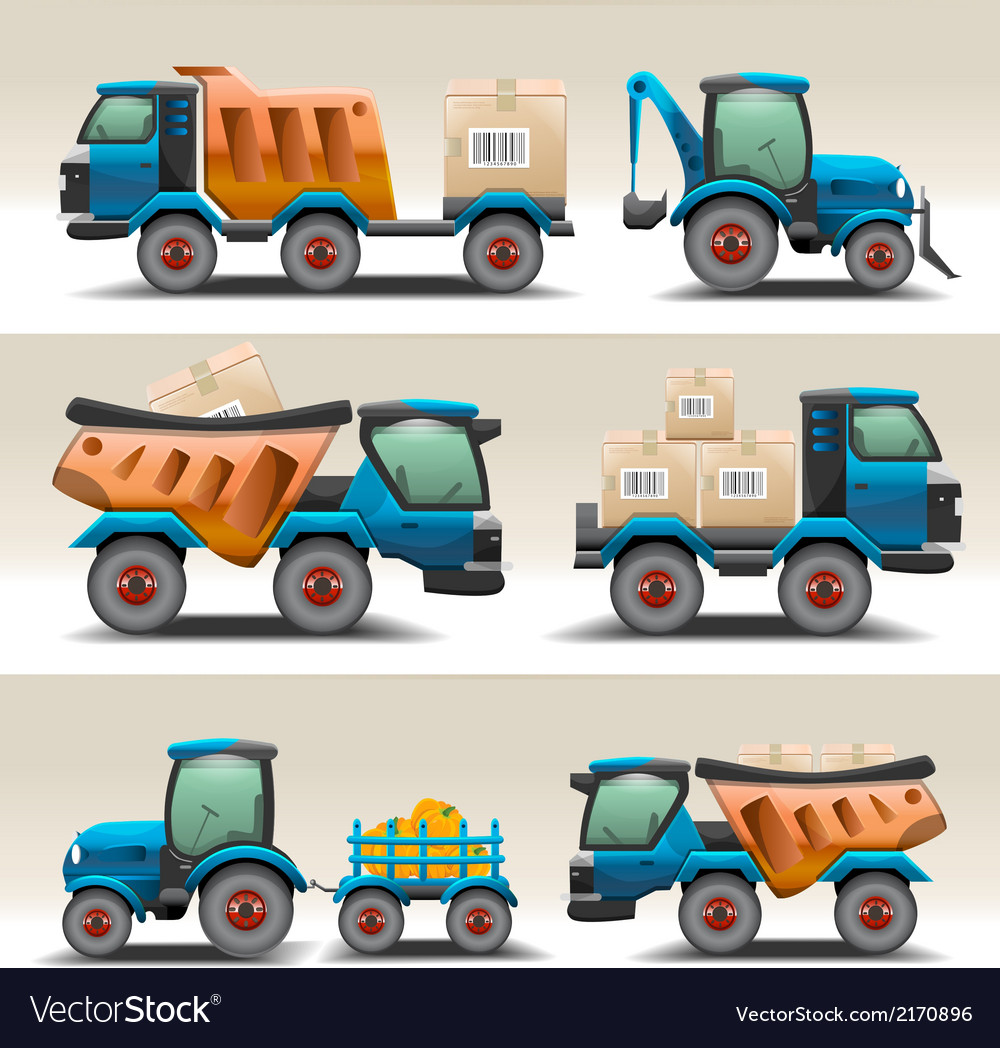 Set of trucks and tractors for transportation vector image