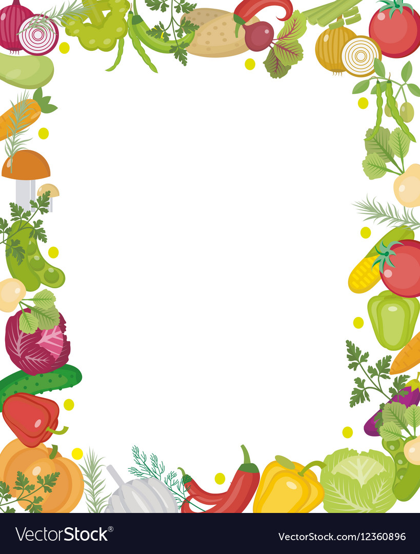 Vegetables square frame with place for text Flat