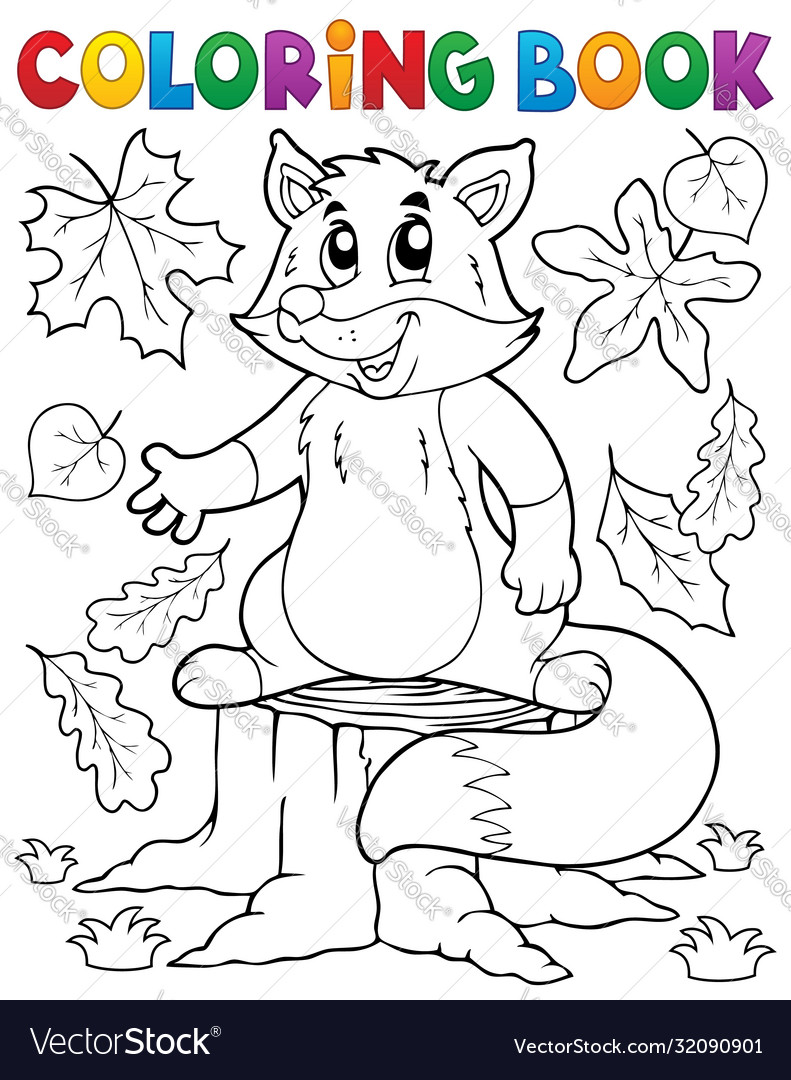 Coloring Book Cute Fox Theme 1 Royalty Free Vector Image
