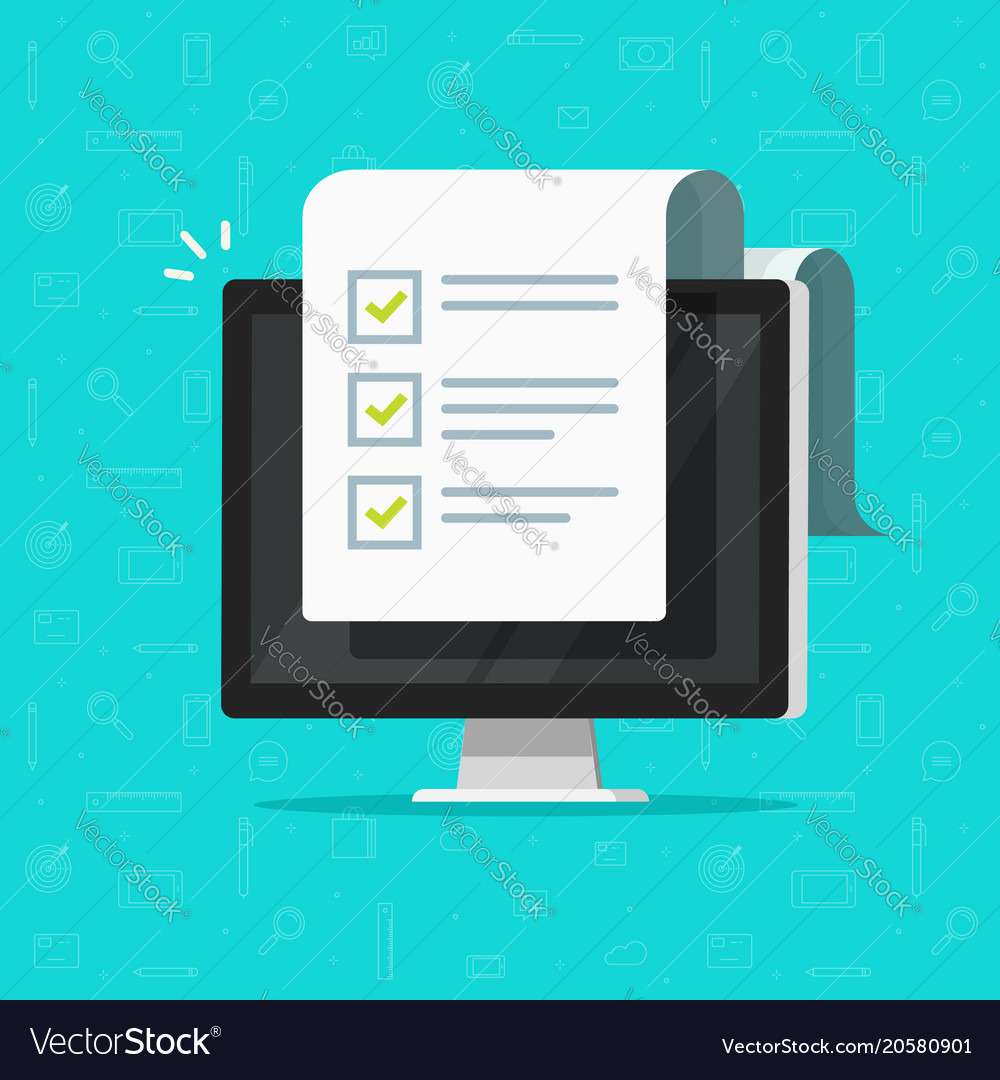 Computer and checklist flat vector image