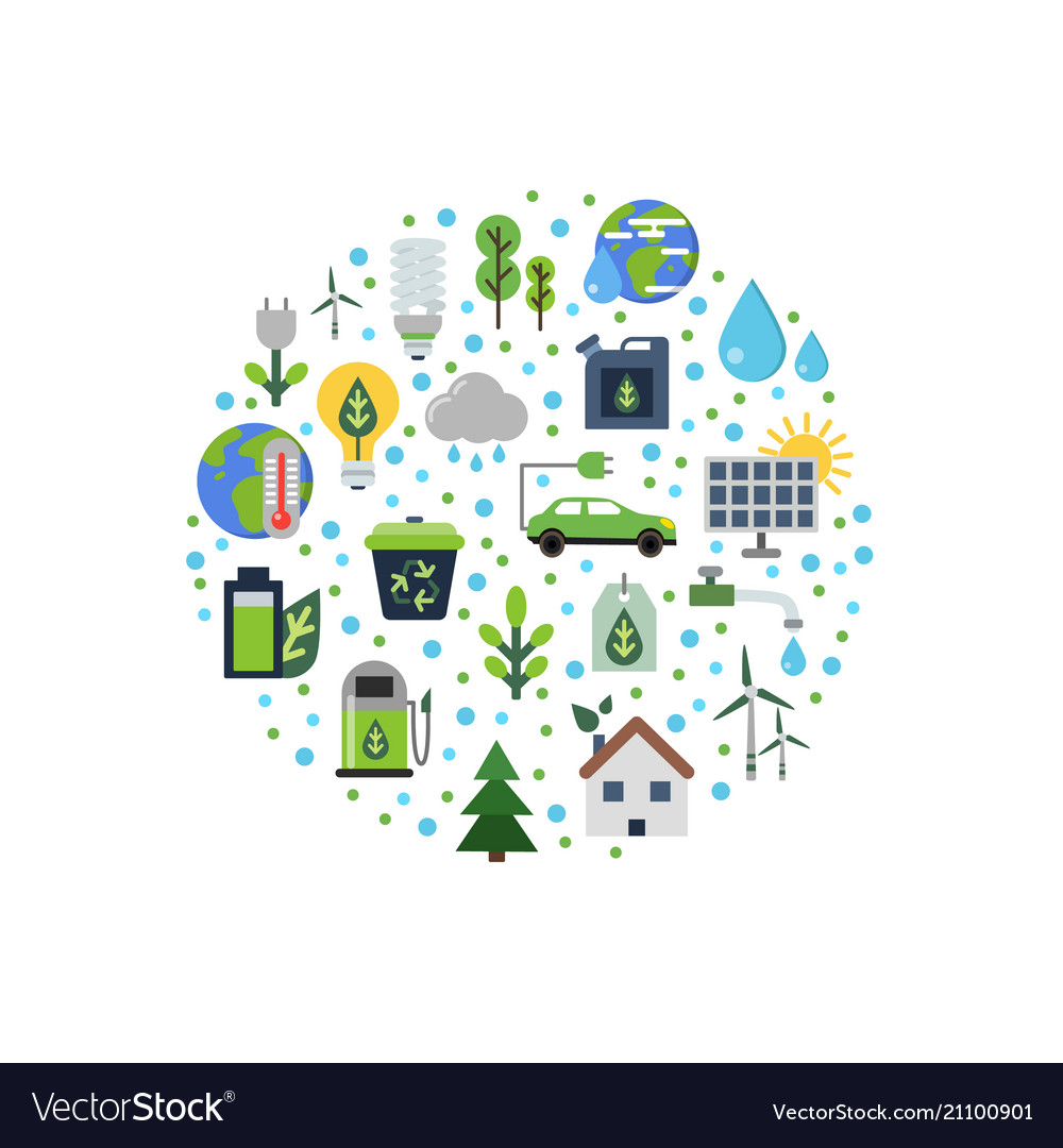 Ecology flat icons gathered in circle