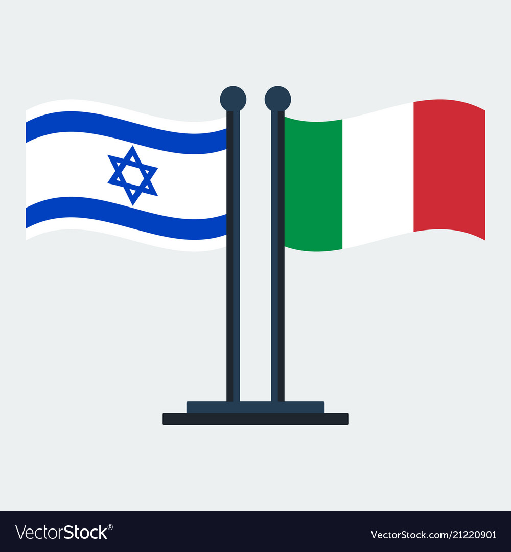 Flag of italy and israel flag stand