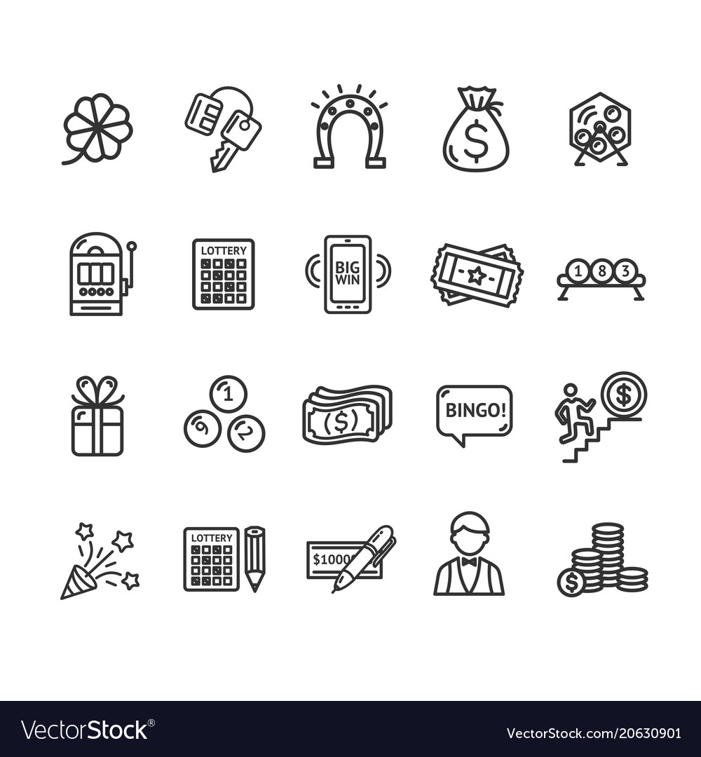 Lotto signs black thin line icon set