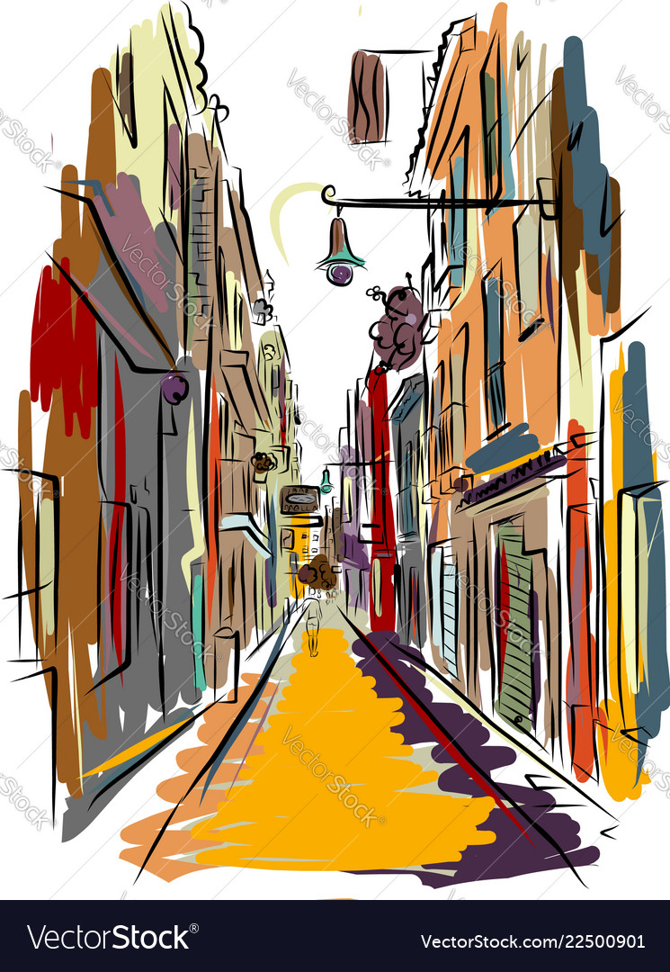 Old european street sketch for your design