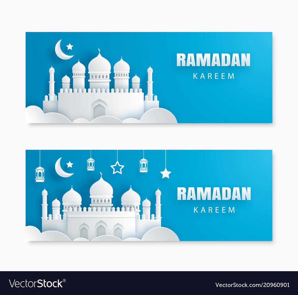 Ramadan kareem greeting card with crescent moon