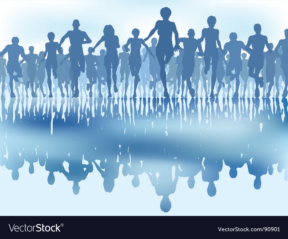 Reflected runners vector image