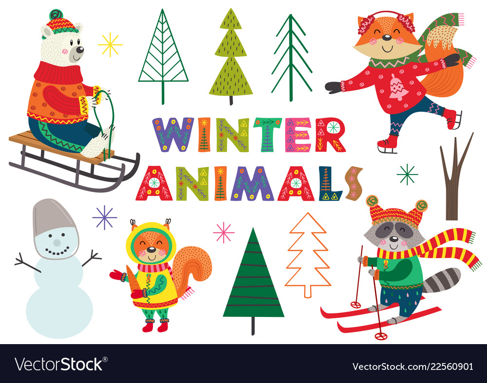 Set of isolated winter fun with animals part 1