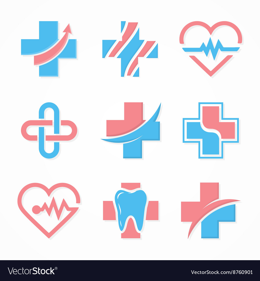 Set of medical cross logo Pharmacy logo design