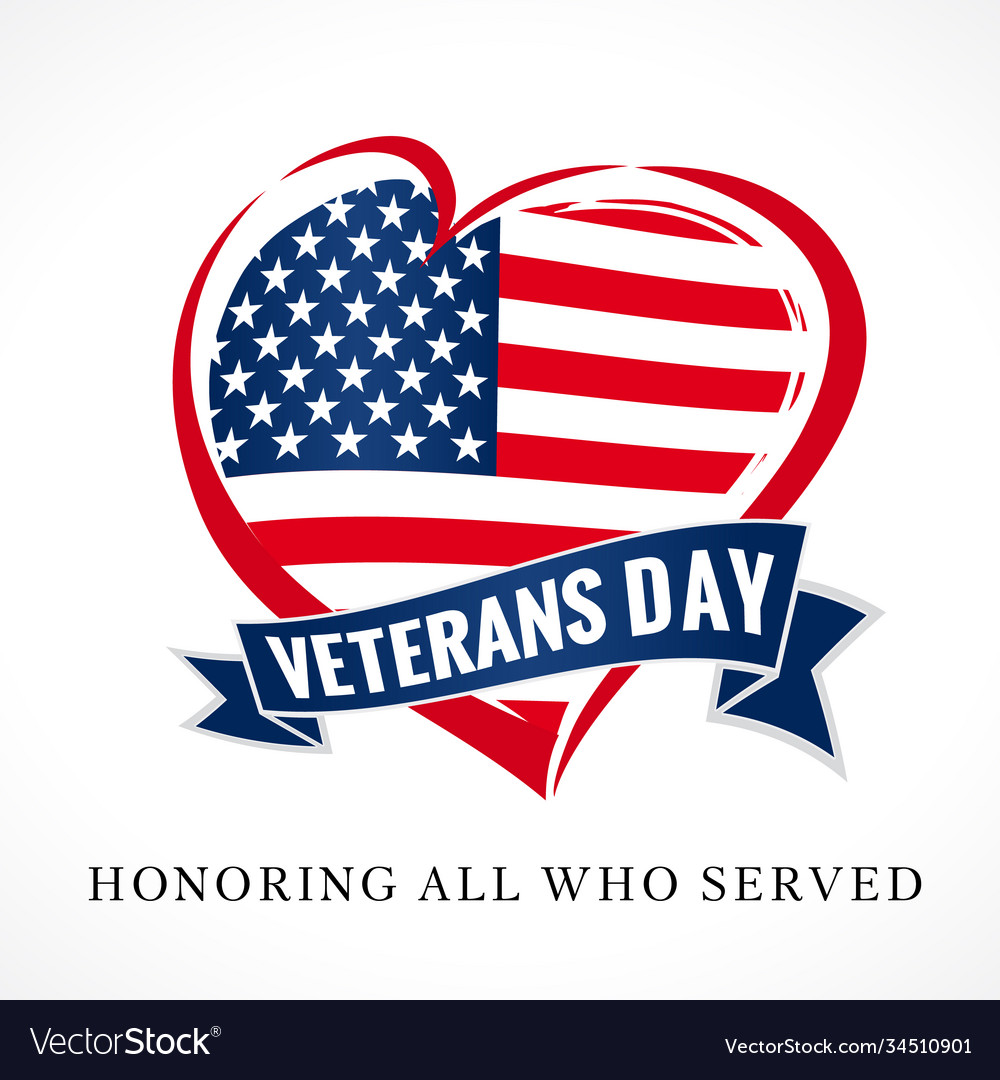 Veterans day usa heart emblem colored
