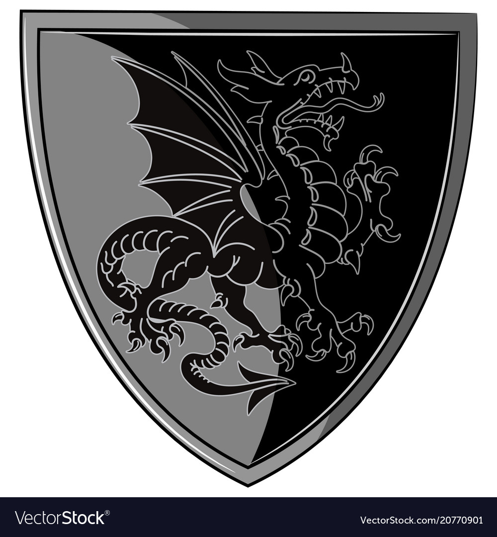 Winged heraldic dragon and heraldic shield