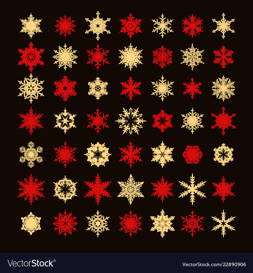 Big collection of elegant gold and red snowflakes