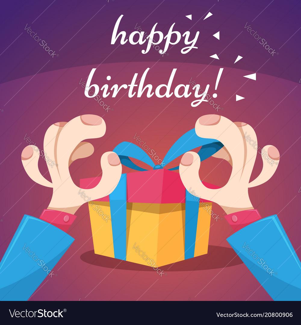 Cartoon happy birthday hand and gift