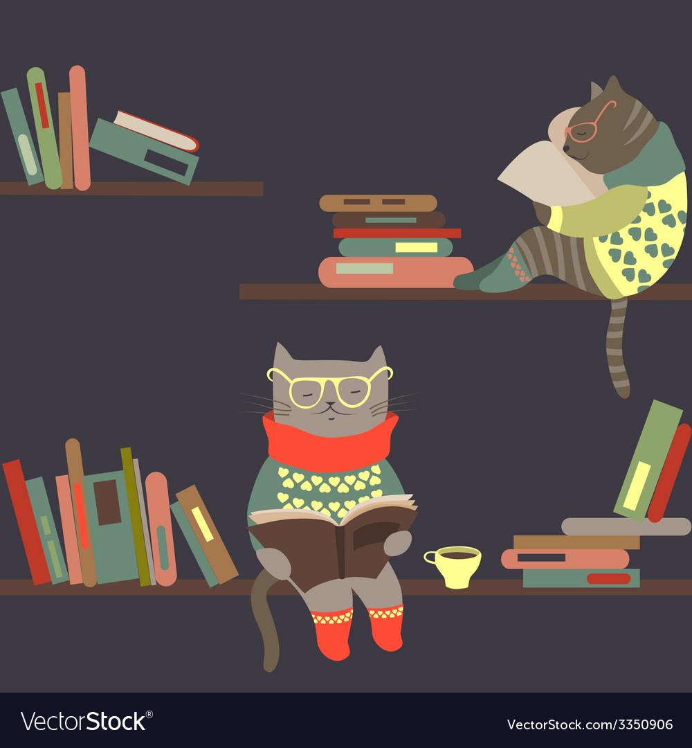 Cats reading books on bookshelves