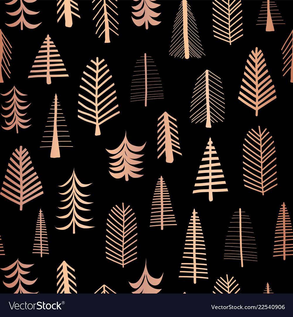Christmas trees copper foil seamless pattern black