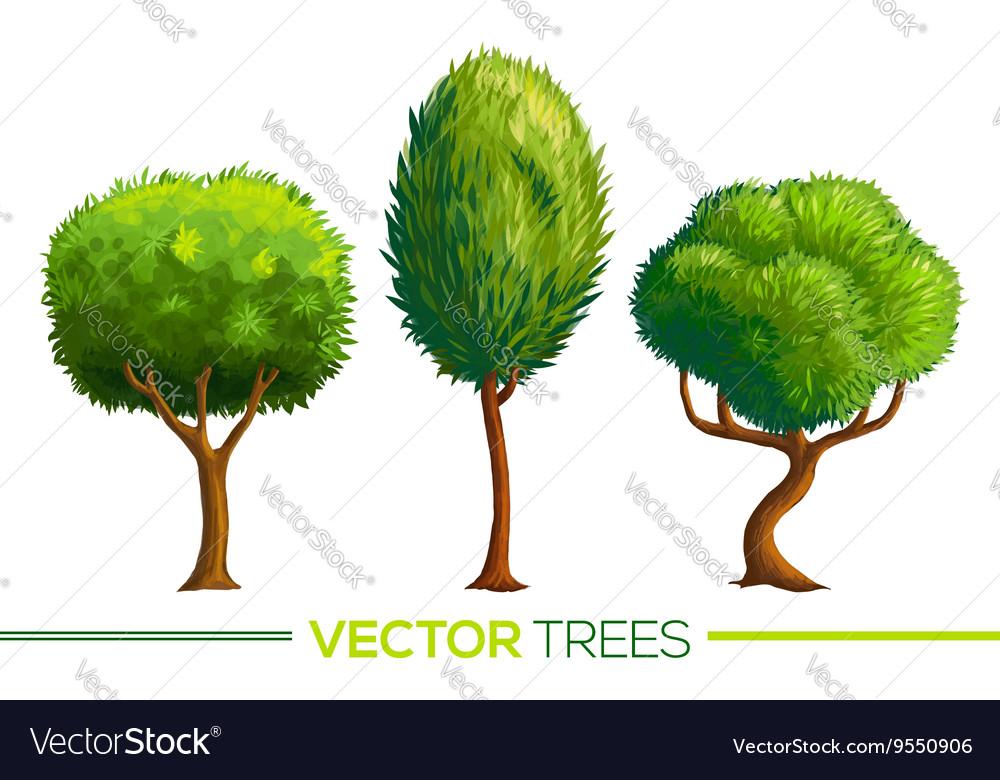 Green cartoon style trees set