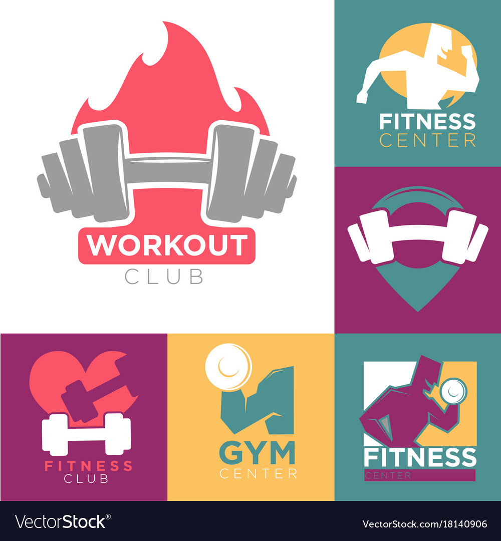 Gym and fitness club or workout sport center logo