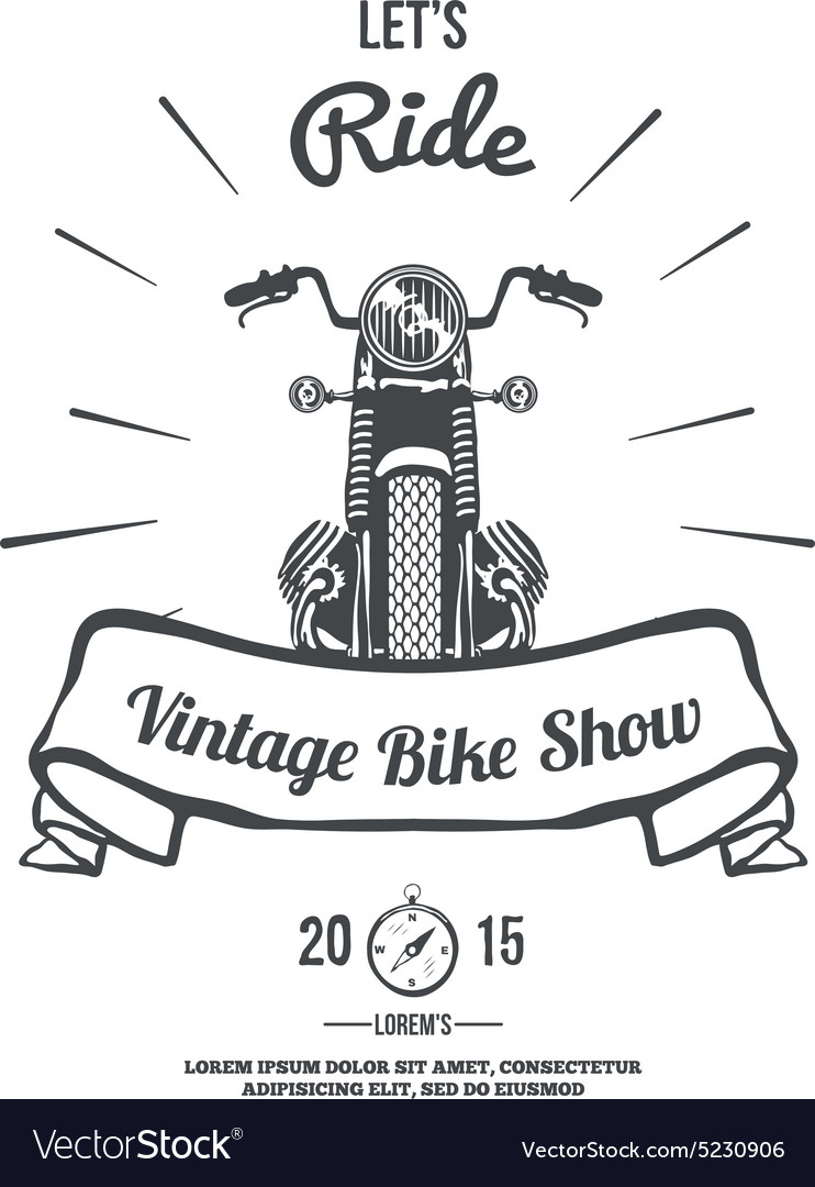 Hand Drawn Vintage Motor Bike