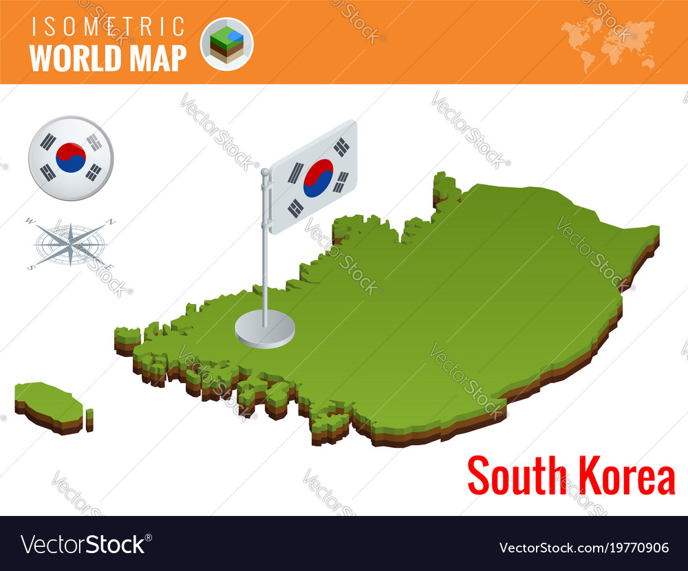 Isometric South Korea Political Map With Capital Vector Image
