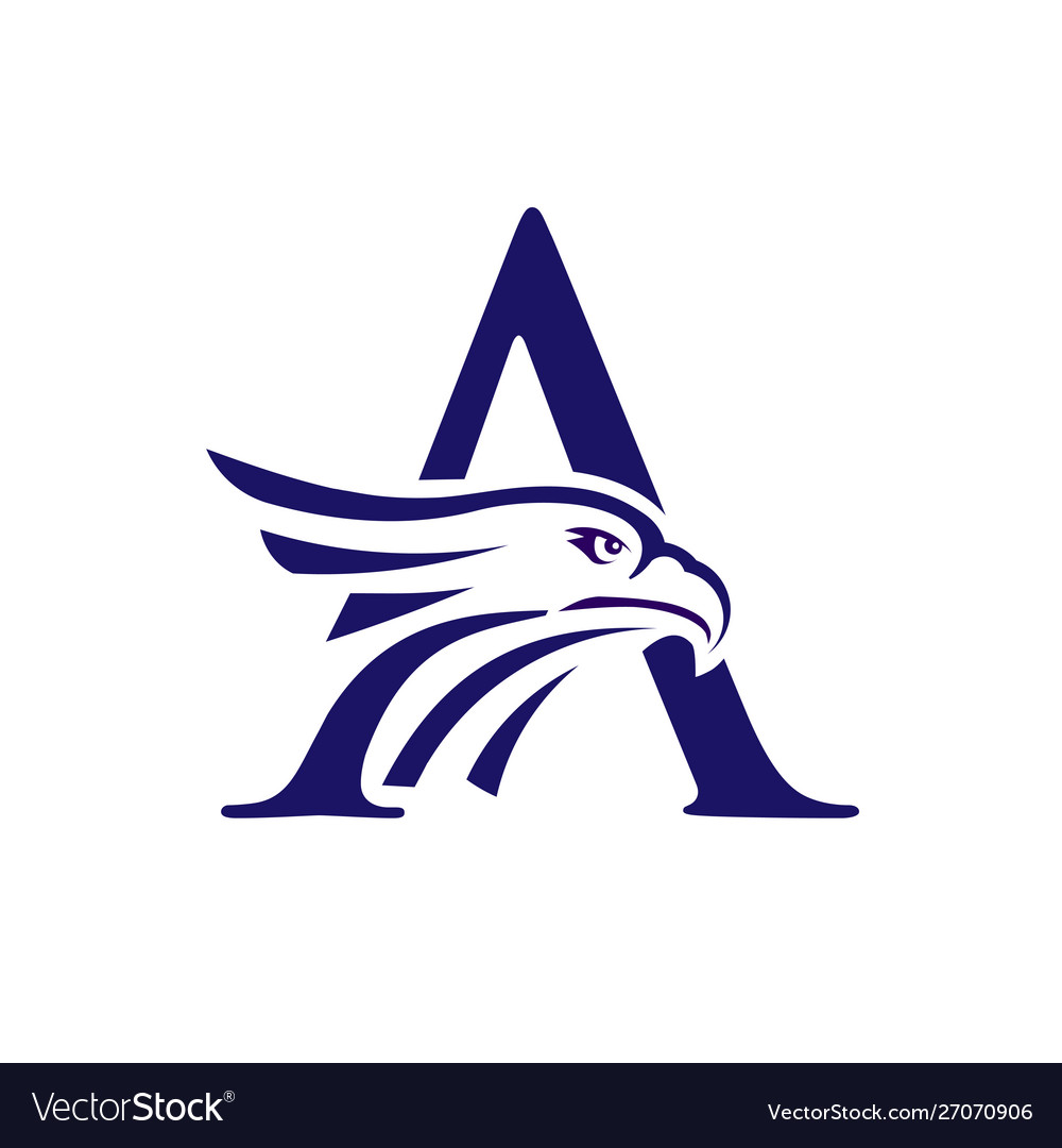 Letter a and eagle head logo