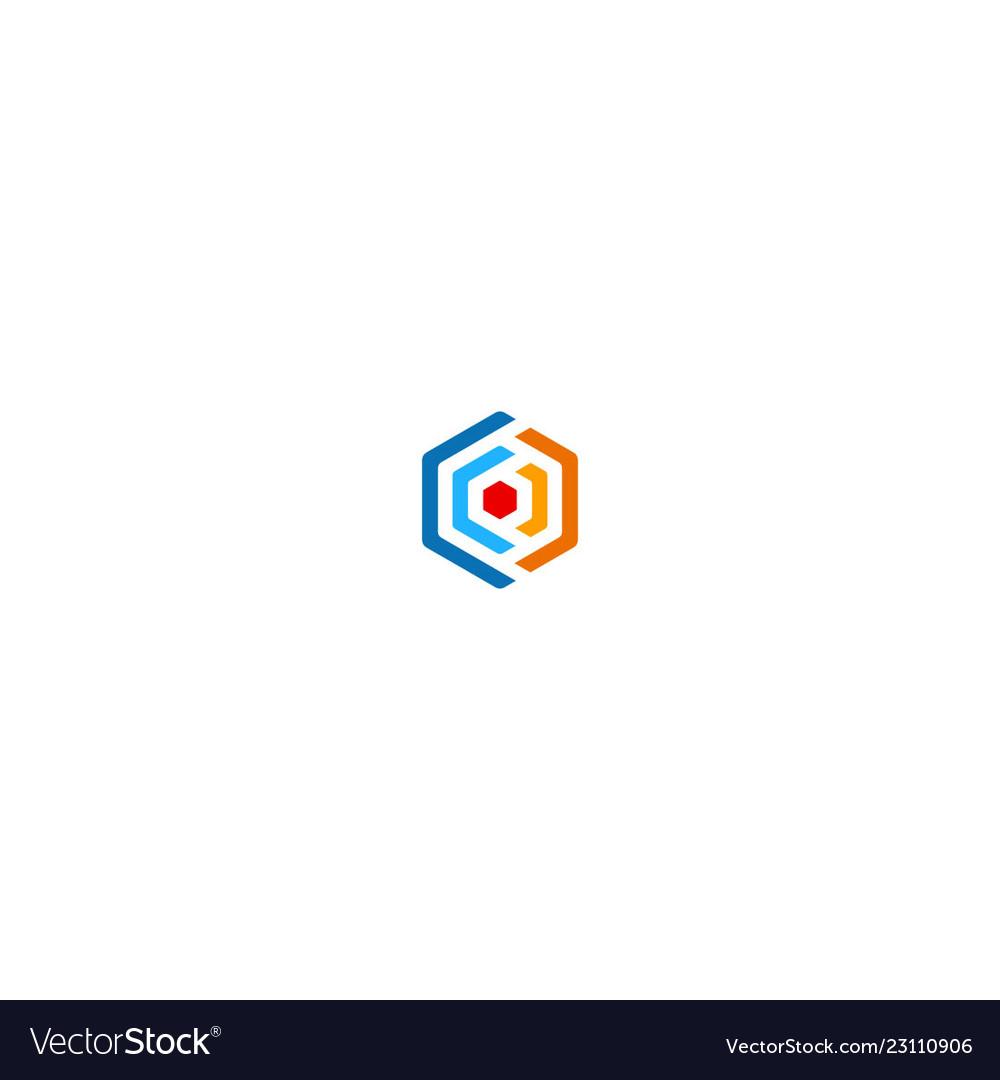 Polygon colored circle logo