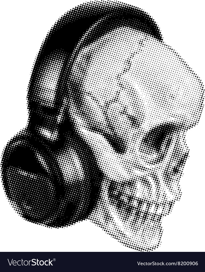 Skull in headphones halftone