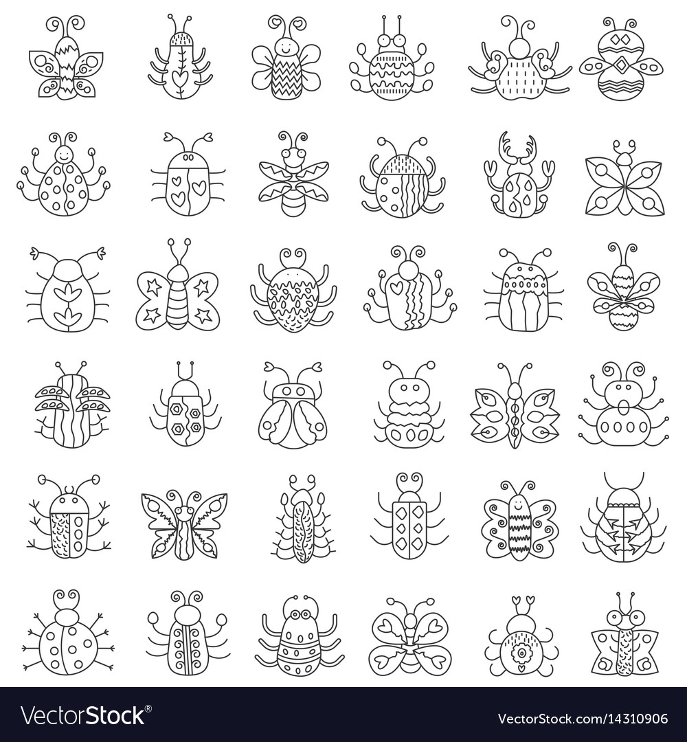 Thin line insects icons set outline butterfly