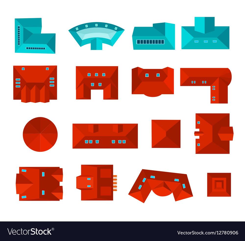 Top view of roof design set vector image