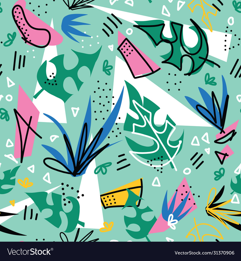 Tropical plants collage seamless pattern