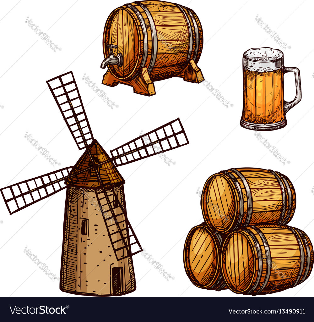 Beer drink isolated sketch set with glass barrel