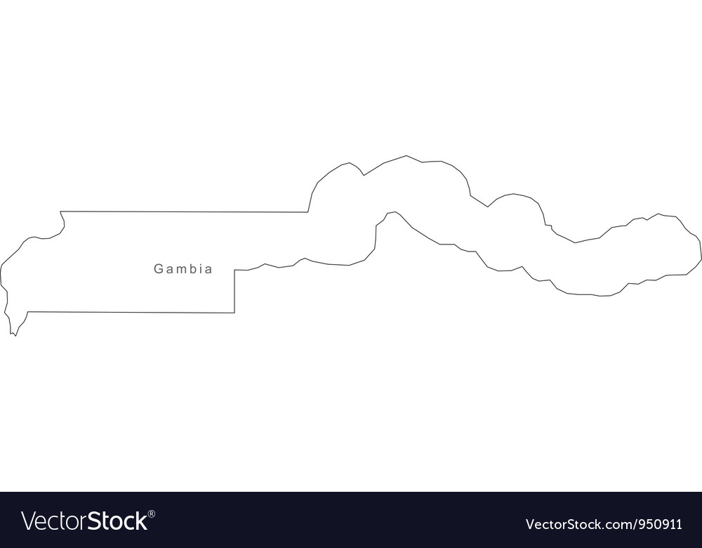 Black White Gambia Outline Map